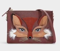 Handtasche Fox Clarise So Foxy aus Kalbsleder Saffiano in Rot