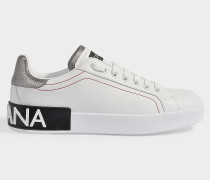 Sneaker Portofino aus Metallic Kalbsleder