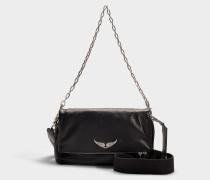 Handtasche mit Schulterriemen Rocky aus schwarzem Kalbsleder