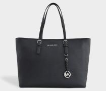 Jet Sand Travel Medium Tz Multifunction Tote Bag aus schwarzem Saffia Leder