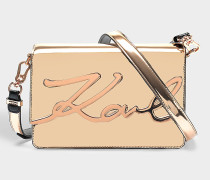 K/Signature Gloss Shoulder Bag aus goldfarbenem Öko Leder