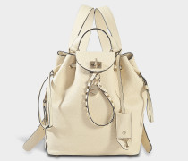 Twiny Backpack aus Light elfenbeinfarbenem Stierleder