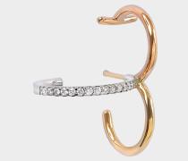 Clover Mono Ohrring aus gelbem rosanem und weißem 18K goldfarbenem und Diamanten