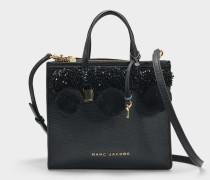 The Mini Grausd Tote Bag aus schwarzem Kuhleder