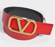 Wendbarer Gürtel Go Logo aus rotem und schwarzem Kalbsleder