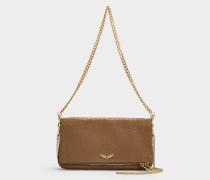 Handtasche mit Schulterriemen Rock Bubble aus bronzefarbigem Kalbsleder