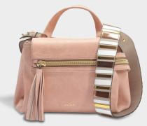 Horizonal Mini Tote Bag aus Salmon rosanem Leder
