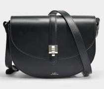 Isilde Tasche aus schwarzem geschmeidigem gläntzendem Leder