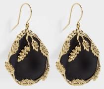Hängende Ohrringe Françoise aus vergoldetem Messing Schwarz