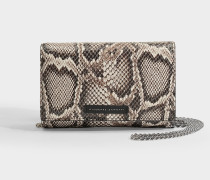 Schultertasche aus python-geprägtem Leder