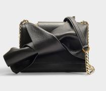 Kleine Handtasche Bow aus schwarzem Kalbsleder
