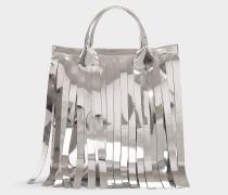 Shopper Fringe aus silbernem Kalbsleder