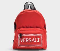 Rucksack Logo aus rotem und weißem Nylon