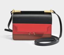 Trunk Micro Tricolor Tasche aus schwarzem, rotem und Maroon Kalbsleder