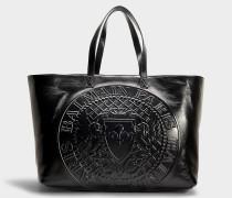 Handtasche Shopping Logo aus schwarzem Kalbsleder