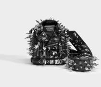 Biker Spike Crossbody Tasche aus schwarzem Kalbsleder