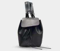 Rucksack Mini Backpack aus schwarzem Kalbsleder und Rot