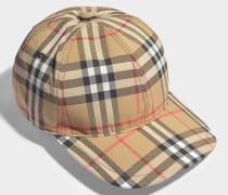 Kappe Vintage Check aus beiger Baumwolle