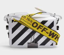 Handtasche Diag Mini Flap aus weißem und schwarzem Kalbsleder
