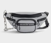 Mini Tasche Crossbody Attica Soft aus silbernem, reflektierenden Nylon