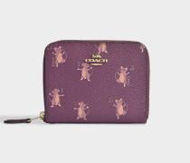 Kleines Portemonnaie mit Reißverschluss mit Mausprint aus bordeauxrotem Kalbsleder