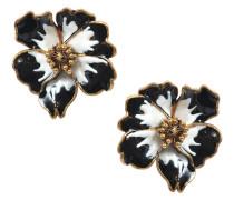 Flowers Ohrringe aus schwarzem und weißem Metall und Enamel