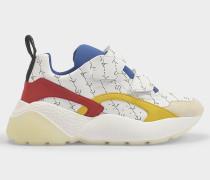 Sneakers Eclypse mit Klettverschluss aus weißem Eco-Leder mit gelben, roten und blauen Details