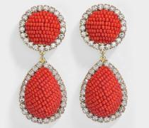Ohrringe Bananitas Rots aus Messing, Swarovskikristallen und Muyukiperlen