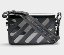 Handtasche mit Taschenklappe Diag Métal Mini Flap aus schwarzem und silbernem Kalbsleder