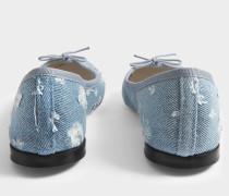 Cendrillon Denim Ballerinas aus himmelblauer Baumwolle