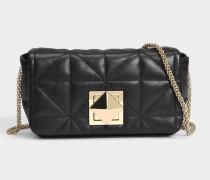 Le Copain Medium Tasche aus schwarzem gestepptem Nappaleder