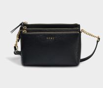 Sutton Triple Zip Crossbody Tasche aus schwarzem gemustertem Leder