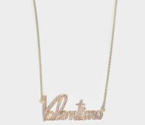 Valentino Crystals Lettering Halskette aus Metall und rosanen Swarowskisteinen