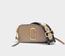 Handtasche Snapshot aus Kalbsleder mit Polyurethan Beschichtung Grau und Bunt