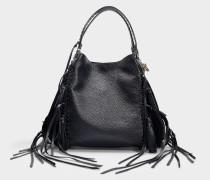 Handtasche Edie 42 aus schwarzem Kalbsleder