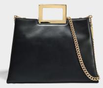 Kristen Large Top Handle Satchel Tasche aus schwarzem poliertem Leder