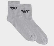 Kurze Socken Off Wings aus weißem und schwarzem Polyester