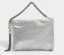 Callie Metallic Drawstring Bag in Silver Leather