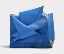 Große Handtasche Bow aus blauem Kalbsleder