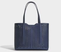 Taylor Laserotem Shopper Tasche aus Medium blauem Laserotem Saffiano bedrucktem Kalbsleder