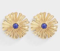 Kleine Ohrringe Sofia aus vergoldetem Messing mit blauem Lack