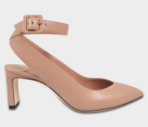 Lou Pumps mit Fesselriemen aus Ballet rosanem glänzend glattem Leder