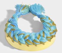 Armband Copacabana aus vergoldetem Messing und Ozeanblauer Baumwolle