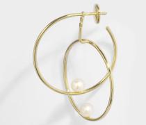 Double Rondeur Perlee Mono Ohrring aus 14K Gelbgoldfarbenem