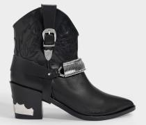 Cowboy Boots in schwarzem Leder