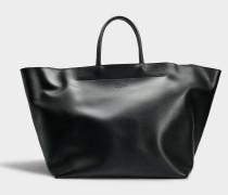 Shopper XXL aus schwarzem Kalbsleder