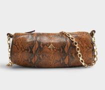 Schultertasche Cylinder aus Schlangenprint-Leder