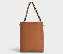 Bucket Bag Margot Medium mit Kette aus braunem Leder
