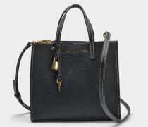 Handtasche The Mini Grind aus schwarzem und goldenem Kalbsleder