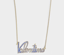 Kette mit Valentino Lettering und Kristallen